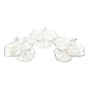3 Vintage Hazel Atlas Divided Glass Leaf Dishes